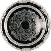 (t2) SILVER SERVING TRAYS. 16in ROUND